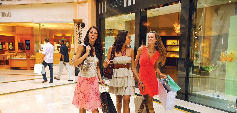 Women shopping in a mall